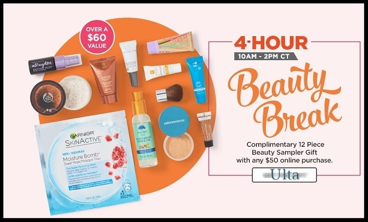 Ulta ~ 4-Hour Beauty Break ~ Free 12-Piece Beauty Sampler Beauty Gift (Over a $60 value) + Free BENEFIT COSMETICS  Deluxe Boi-ing Concealer  with any purchase (Just add to cart) + Free ESQUIRE GROOMING  Deluxe Grooming 3-in-1 Shampoo, Conditioner, and Body Wash  (Just add to cart) + Free samples + Free shipping with $50 order (GWP offers ~ while supplies last)