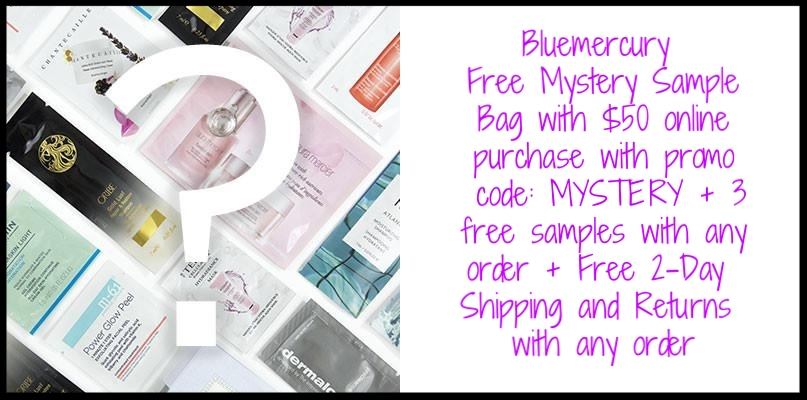 Bluemercury ~ Free Mystery Sample Bag with $50 online purchase with promo code: MYSTERY + 3 free samples with any order + Free 2-Day Shipping and Returns with any order