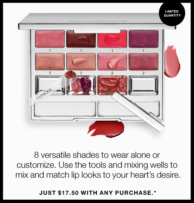 Clinique ~ Flash Sale Item ~ Pretty Easy Lip Palette ~ was: $35 now: $17.50 with any purchase (Ends 6/16 at 5:59pm ET) + Free shipping with $50 or free shipping with any order for Smart Rewards Members (It's free to join)
