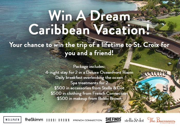 Win A Trip to The Buccaneer Resort, St. Croix, U.S. Virgin Islands ~ Enter for a chance to win the trip of a lifetime to St. Croix for you and a friend. Your package includes: 4-Night Stay for 2 in a Deluxe Oceanfront Room Daily Breakfast Overlooking the Ocean Spa Treatments for 2 $400 in accessories from Stella & Dot $400 in clothing from French Connection $400 in makeup from Bobbi Brown $300 airfare voucher Enter here (Ends 7/1 ~ Must be 21 or older and Permanent Legal US Resident)