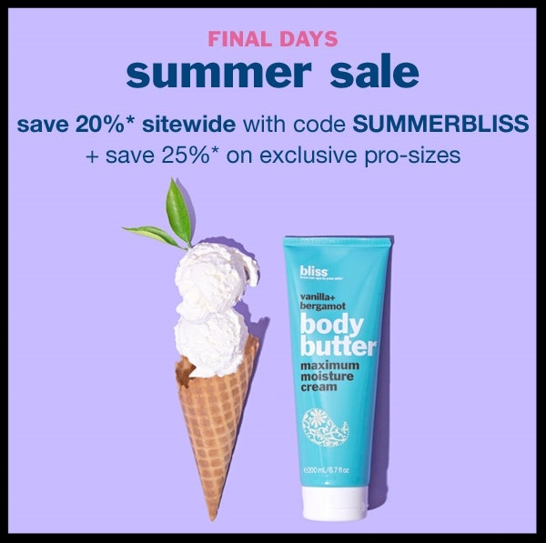 Bliss ~ Save 20% with promo code: SUMMERBLISS (Offer excludes: already discounted products, gift card, and e-gift card purchases, and cannot be combined with any other promotions. 25% off pro-sizes is a hard-marked discount and cannot be combined with promo code SUMMERBLISS (Offer valid through June 21, 2017) + Free samples with every order + Free shipping with $50 order