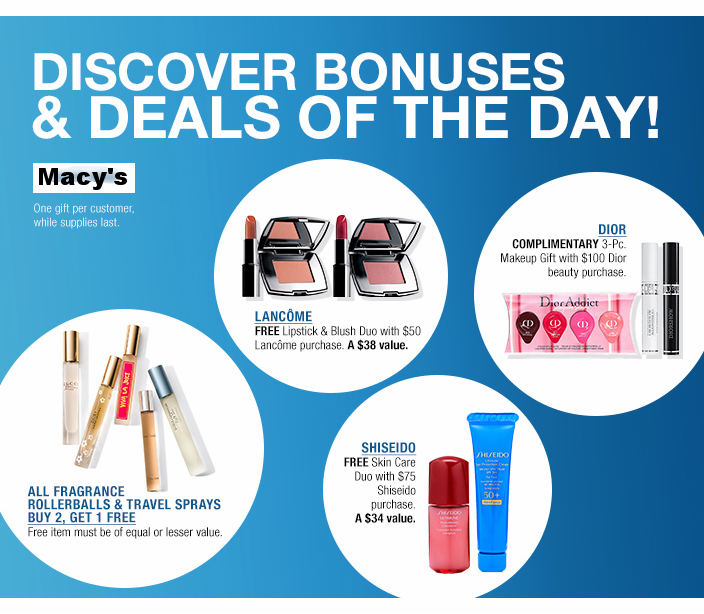 Macy's ~ Lots of Beauty Deals, Sale Items, and GWP Offers + Free shipping and returns on any beauty order