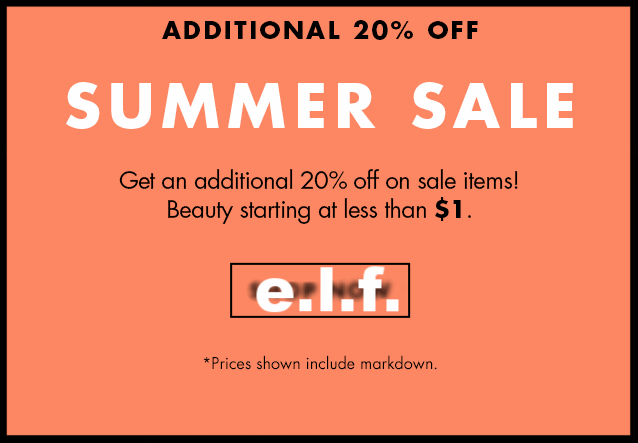 e.l.f. cosmetics ~ Summer Sale + An extra 20% off + Free Mystery Gift ($15 value) with $25 purchase with promo code: MYSTERY (Ends 6/26) + Free shipping with $25 order
