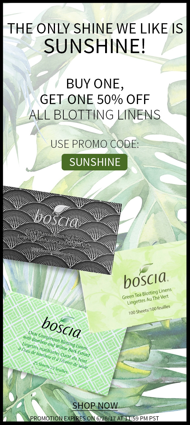 Boscia ~ Buy 1  Blotting Linens , Get 1 50% Off with promo code: SUNSHINE (Ends 6/26 at 11:59PM PST) + 3 free samples with every order + Free shipping with $50 order