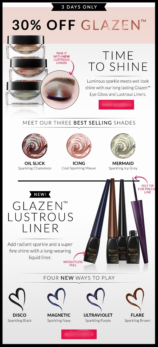 Butter London ~ 30% Off  Glazen Collection  + Free 6-Piece Gift (Includes a full-size nail polish) with $50 purchase with promo code: JUNE17 + Free shipping