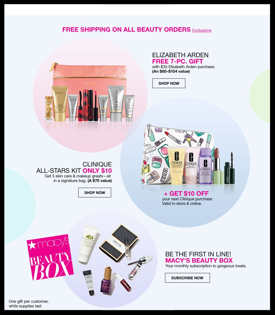 Macy's  ~ Lot of Beauty Offers + Free shipping and returns on any beauty order