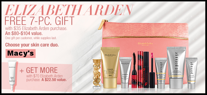 Macy's ~  Elizabeth Arden  ~ Receive A FREE 7-Piece Gift With Any $35 Elizabeth Arden Purchase + Receive A FREE Full-Size Advanced Lip-Fix Cream With Any $70 Elizabeth Arden Purchase ($22.50 Value) + Free shipping and returns with any beauty order