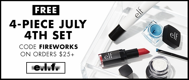 e.l.f. cosmetics  ~ Free 4-Piece Gift with $25 purchase with promo code: FIREWORKS + Free shipping with $25 order