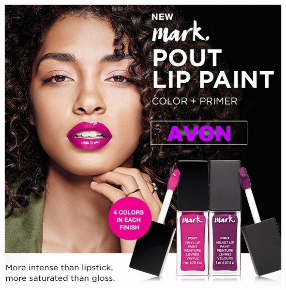 Avon ~  mark. by Avon Lip Pout  ~ $12 each (4 colors in each finish) + Free shipping with $40 order or free ShopRunner with $25 order