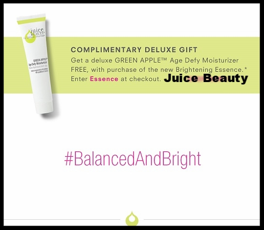 Juice Beauty ~ Free deluxe Green Apple® Age Defy Moisturizer with purchase of the new  GREEN APPLE® Brightening Essence  $35 with promo code: ESSENCE + 1 free sample + Free shipping with $30 order