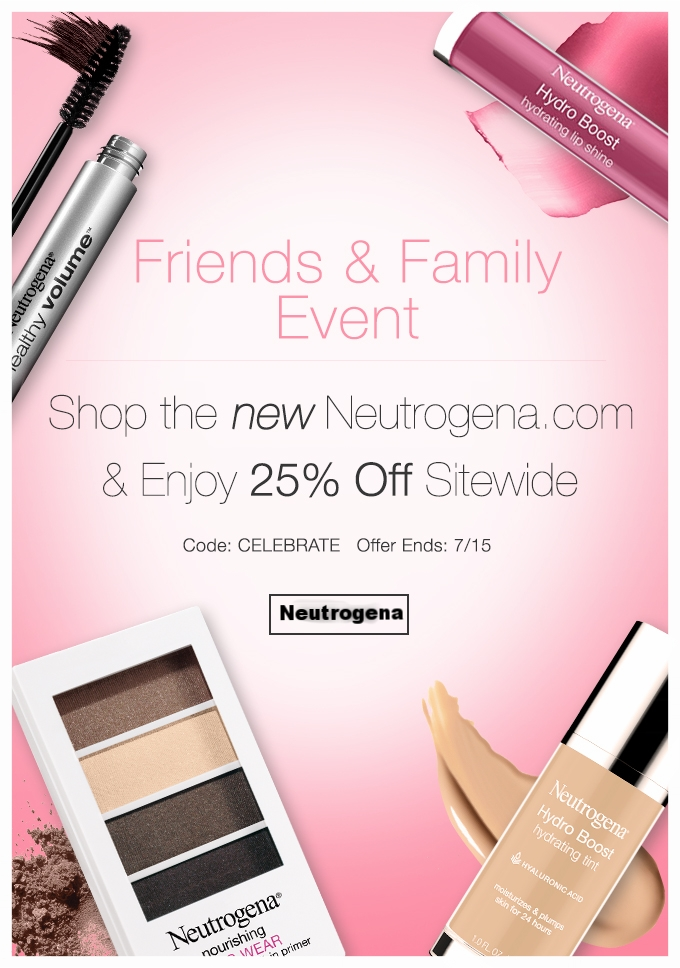 Neutrogena  ~ 25% Off with promo code: CELEBRATE (Ends 7/15) + Free shipping with $25 order