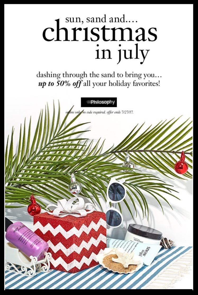 Philosophy ~ Christmas in July ~  Up to 50% Off Holiday Favorites  (Ends 7/27) + FREE ULTIMATE MIRACLE WORKER RETINOID PAD SAMPLE WITH ANY PURCHASE with promo code: umwpad (Ends 7/17) + 3 free samples + Free shipping with $50 order