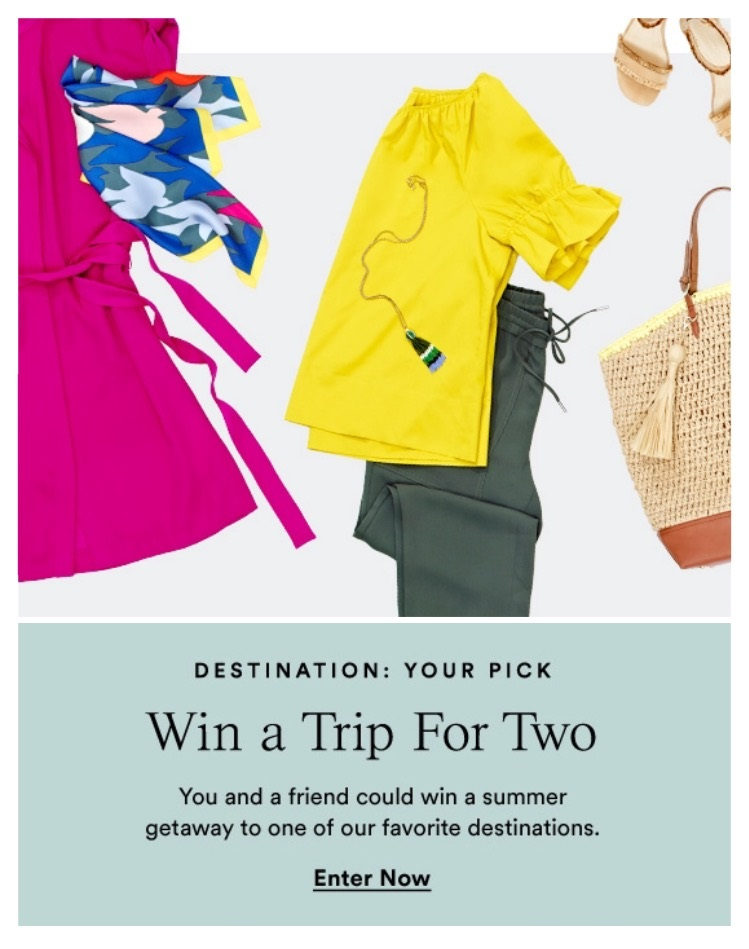 Ann Taylor ~  Enter for a chance  to win a trip to Vancouver or Palm Springs for 2! (Contest ends 8/3 ~ must be 21 years of age and a resident of the 48 contiguous United States or District of Columbia ~ Vancouver trip has a retail value of $4,899 and Palm Springs has a retail value of $4,449) One you click on the enter button above, the entry form is on the bottom of the page!