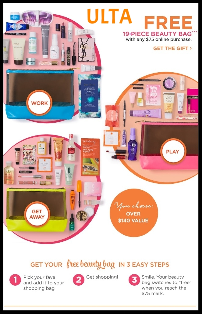Ulta ~ Choice of  19-Piece Beauty Bag  (Over $140 value) with any $75 order (Just add to cart) + Free  Missy Lynn Beauty Bag  with any $75 Purchase with promo code: MISSYLYNN ($114 Value - just add to cart ~ ends July 20th or while supplies last!) + Free  Eyeko Skinny Liquid Eyeliner  in Black with any purchase (Just add to cart) + Free samples + Free shipping with $50 order (GWPs are while supplies last!)