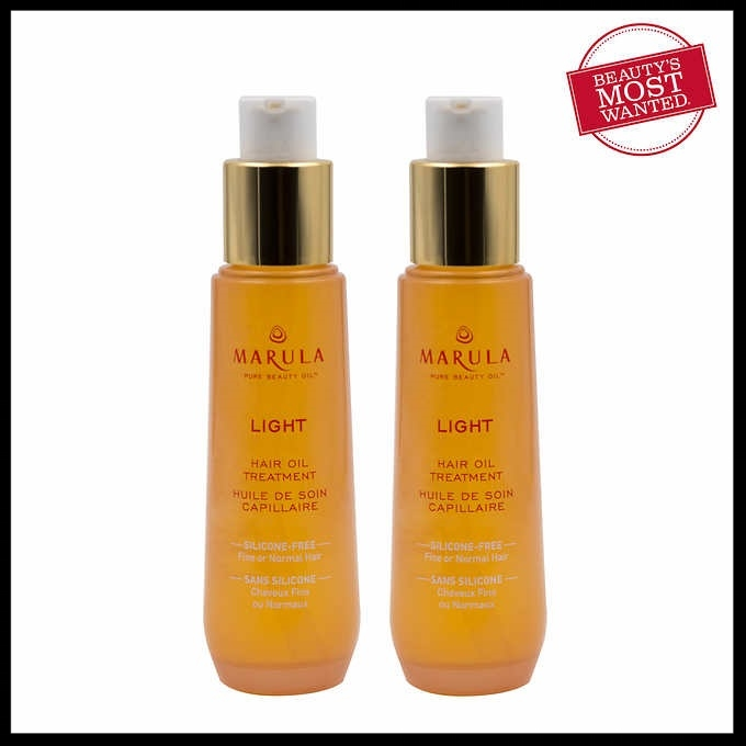 Costco (No membership needed for item) ~ Marula Light Hair Oil ~ $29.99 + Free shipping (2-pack ~ 1.69oz. x 2, so it's 3.38oz total)   Features: Locks In Moisture Controls Frizz And Tames Flyaways Helps Speed Up Dry Time With No Greasy Build-up Color Safe