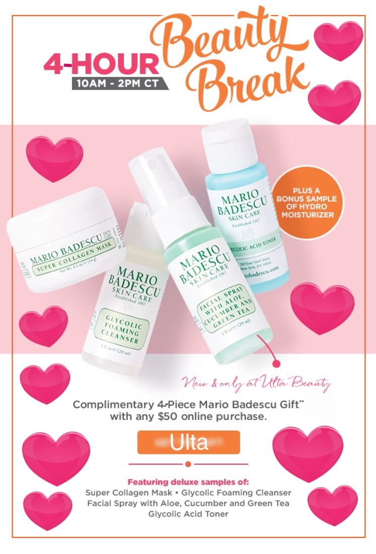 Ulta ~ 4-Hour Beauty Break ~ Free 4-Piece Mario Badescu Gift with any $50 purchase + Free samples + Free shipping with $50 order