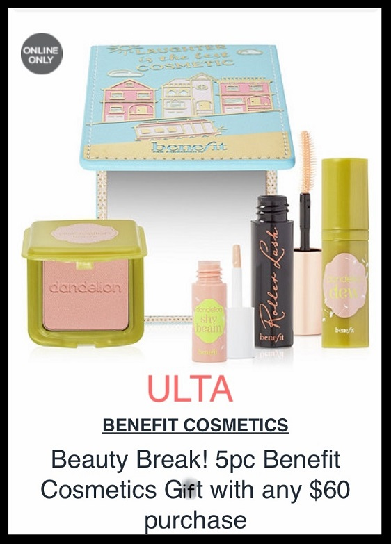 Ulta ~ Beauty Break ~ Free 5-piece Benefit Cosmetics Gift with any $60 purchase (Just add to cart) + FREE Beauty Bag with any $25 purchase (Just add to cart) + Free SMASHBOX Deluxe Photo Matte Eyeshadow Duo with any purchase (Just add to cart) + 20% Off 1 Styling Tool with promo code: 500852 + Free samples + Free shipping with $50 order