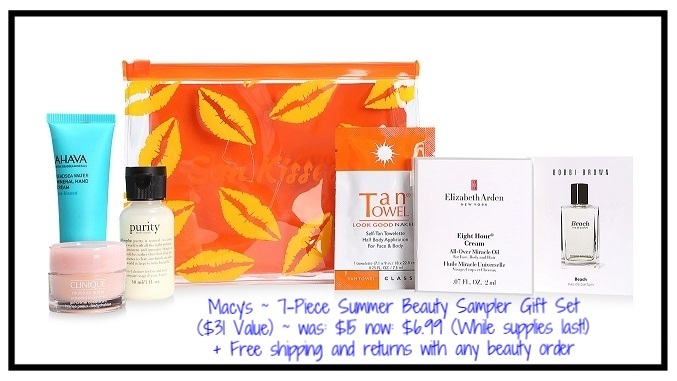 Macy's ~  7-Piece Summer Beauty Sampler Gift Set  ($31 Value) ~ was: $15 now: $6.99 (While supplies last!) + Free shipping and returns with any beauty order