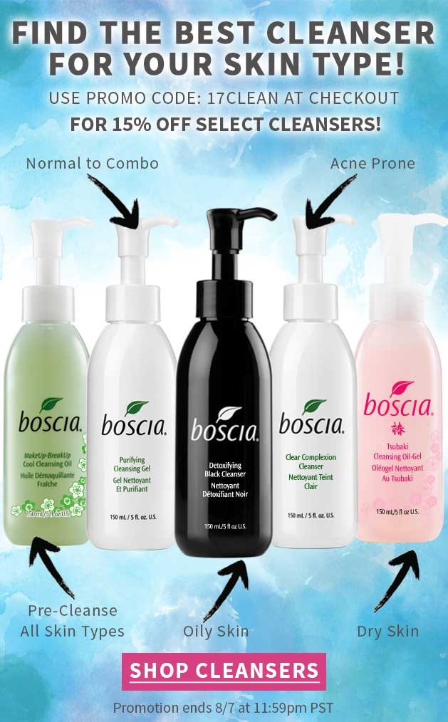Boscia ~ 15% Off of  Select Cleansers  ~ ($10 - $32) with promo code: 17CLEAN (Ends 8/7) + 3 free samples with every order + Free shipping with $50 order