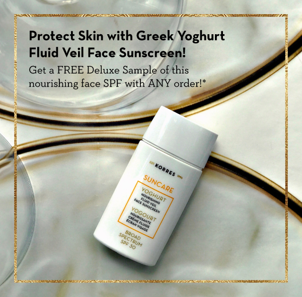 Korres ~  Sale Items  + Free Greek Yoghurt Fluid Veil Face Sunscreen SPF 30 with any order (Ends 8/6) + Free sample on any order + Free shipping with $50 order