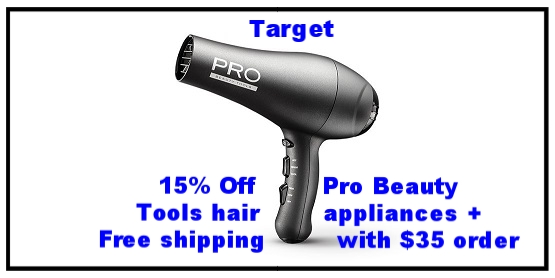 Target ~ 15% Off   Pro Beauty Tools  hair appliances ~ was: $17.99 - $37.99 now: $15.29 - $32.29 + Free shipping with $35 order