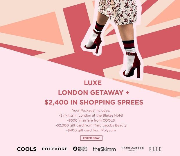 Enter for your chance to win  a LUXE LONDON GETAWAY + $2,400 IN SHOPPING SPREES   Your Package Includes:    • 3 nights in London at the  Blakes Hotel     • $500 in airfare from COOLS   • $2,000 gift card from Marc Jacobs Beauty   • $400 gift card from Polyvore  (Open to anyone who is at least eighteen (18) years of age within the continental United States and has a valid email address. EndS on 08/22/2017 at 12:01 am EST.)