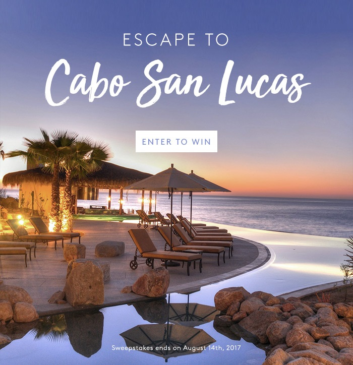 Enter for your chance  to win a luxury Cabo vacay ~  THE ULTIMATE $2,000 GRAND SOLMAR CABO SAN LUCAS GETAWAY ~   Make a clean getaway to Cabo San Lucas—home to postcard-perfect beaches, vacationing A-listers, and pulsating nightlife—on us (including airfare!). With a balcony suite at the  very  luxe Grand Solmar Land's End Resort & Spa as your homebase, you'll be just steps away from world-class dining, breezy beachside cabanas, and sparkling infinity pools with swim-up bars. Did we mention the five-star spa?    3-Night/4-Day Complimentary Stay plus airfare for Two People at the Grand Solmar Resort in Cabo San Lucas!  Solmar Land's End Resort & Spa is a luxury escape a mere 5 minutes away from downtown Cabo San Lucas.   The resort is tucked between dramatic cliffs and the blue sea. Each luxury suite has a balcony overlooking the Pacific Ocean and guests can enjoy infinity pools, swim-up bars, pool cabanas, world-class dining and spa and more. (OPEN ONLY TO LEGAL RESIDENTS OF THE UNITED STATES AND THE DISTRICT OF COLUMBIA WHO ARE AT LEAST 21 YEARS OLD AS OF THE DATE OF ENTRY. VOID IN RHODE ISLAND AND WHERE PROHIBITED BY LAW. Ends 8/14/2017 at 11:59PM EST)