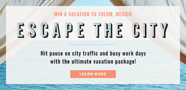 ENTER FOR A CHANCE  TO WIN A VACATION TO TULUM  3-night stay at  Casa Violeta  in Tulum, Mexico $700 toward  airfare  $500  Lucky Brand  gift card Personal travel planning services by  Journy  The complete Elixir Ultime Collection from  Kérastase  12-month supply of  reBloom 's   Natural Sleep Drink  (Open to legal residents of the United States who are 21 years of age or older. Ends at 11:59pm ET on August 28, 2017)