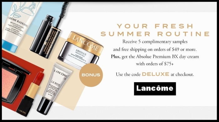 Lancôme  ~  Palette Perfection  ~ Enjoy 50% off select palettes with promo code: EYES (Ends 11:59 PM PDT August 14, 2017) + 5 free samples with $49 purchase with promo code: DELUXE + 1 day cream with $75 purchase (Ends 11:59 PM PDT August 14, 2017) + 1 free deluxe sample at check-out + Free shipping with $49 order