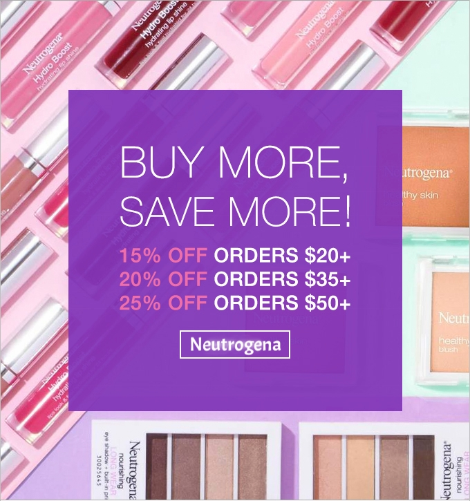 Neutrogena ~ Receive 15% off orders $20+, 20% off orders $35, and 25% off orders $50+ (Ends  8/16) + Receive a FREE Light Therapy Acne Mask with any $50 purchase + Free shipping with $25 order