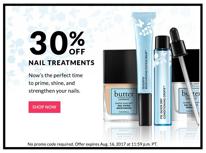 Butter London ~ 30% off of Nail Treatments (Ends 8/16) + Free 5-Piece Gift (Full-size & Minis ~ $60 value) with $50 purchase with promo code: AUGUST17 + Free shipping