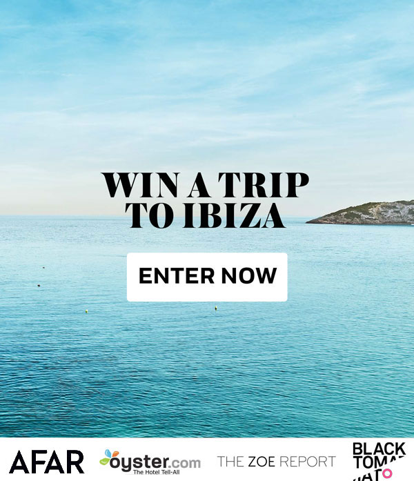 ENTER FOR A CHANCE TO WIN  A Trip To Ibiza!   For two people:  Roundtrip economy class flights from major US airports  The Sponsor will pay up to US$800 per ticket/guest  Four nights' accommodation at the Nobu Hotel Ibiza Bay  Complimentary local transfers to and from the Ibiza Airport and Nobu Hotel Ibiza Bay    Approximate prize value:  $4,300  (Open to legal residents of the 50 United States and District of Columbia who are at least 18 years old as of the date of entry. Ends 8/23 at 11:59 PM EST.)