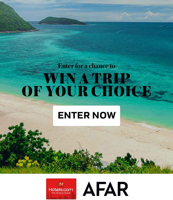 Enter for your chance  to Win a Trip to Your Dream Destination!  Prize includes:  A $2,000 Hotels.com Gift Card! Choose form hundereds of thousands of place to stay worldwide!   A 1-Year Subscription to AFAR Magazine   Total approximate retail value of all prizes combined: $2,025.   (Open only to legal residents of the United States or the District of Columbia, who are 18 or older as of date of entry. Void outside of the 50 United States and the District of Columbia, and where prohibited, taxed or restricted by law. Ends 8/21 at 11:59PM CDT)