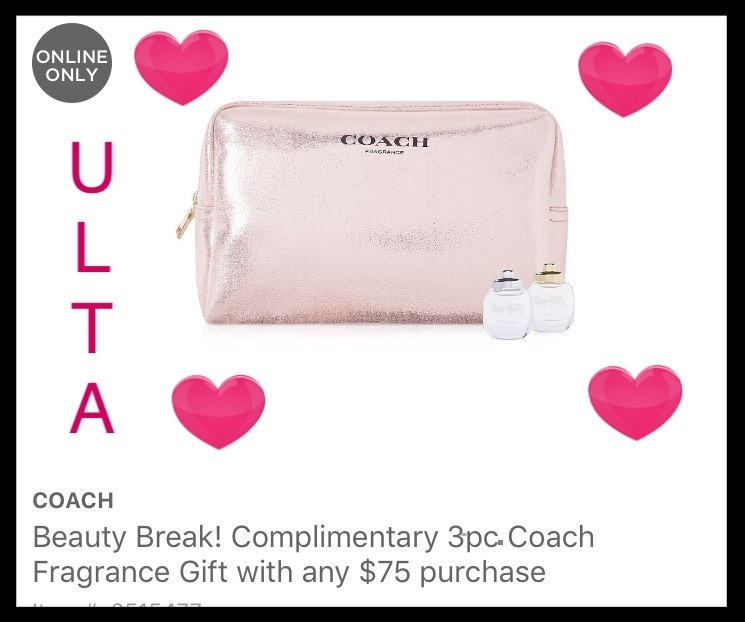 Ulta ~ Beauty Break ~  Free 3-Piece Coach Fragrance Gift  with any $75 purchase (Just add to cart) +  Free DPHUE Deluxe Apple Cider Vinegar Leave-In Hair Therapy  with any purchase (Just add to cart) + Free samples + Free shipping with $50 order