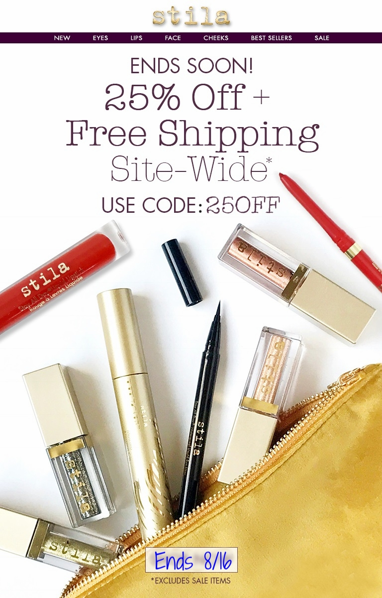 Stila  ~ 25% Off with promo code: 25OFF (Ends 8/16 at 11:45PM PST ~ Excludes Sale Items) + Free Stay All Day® Foundation Multi-Shade Sample with any order + Free Shipping