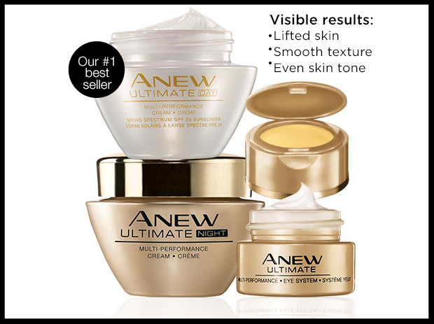 Avon ~  Anew Ultimate Trio  ($112 value) ~ $60 + Free shipping with $40 order   BENEFITS  • Restores youthful appearance to your skin by lifting, firming and reducing wrinkles  • Yanang leaf repairs skin while moisturizing • Broad Spectrum SPF 25 protects from the sun and adds radiance • Hypoallergenic • Clinically & dermatologically tested
