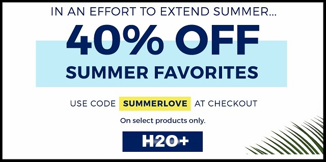 H2O Plus ~ 40% Off Summer Favorites on Select Products with promo code: SUMMERLOVE (Ends  8/31/17 at 11:59pm PT.) + Free shipping with $50 order