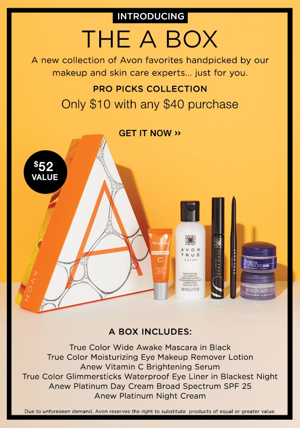 Avon ~ The A Box: Pro Picks Collection - Only $10 with your $40 purchase + Free shipping with $40 order