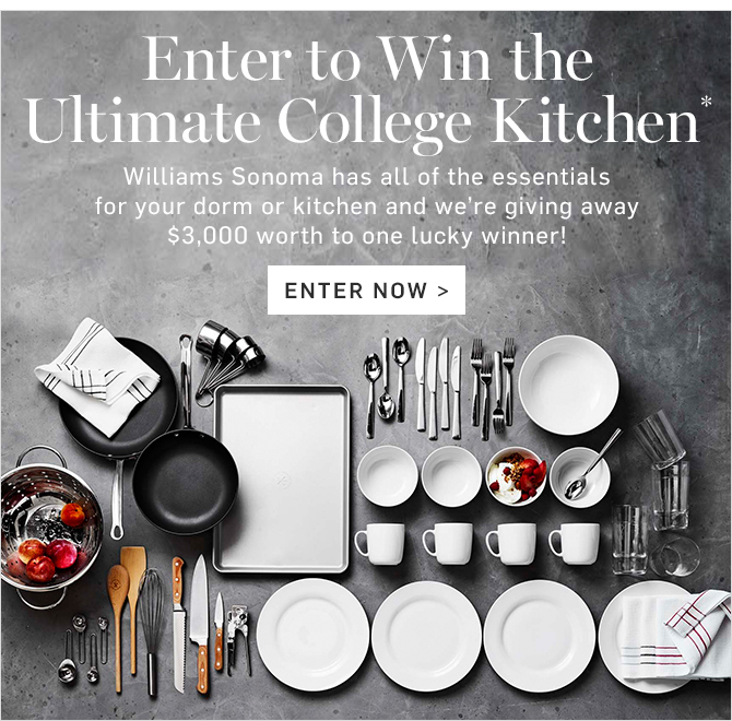 Enter for your chance  to Win the ULTIMATE College Kitchen!  (Open only to residents of the 50 United States of America or the District of Columbia who are 18 years or older as of entry time. Ends 8/31)