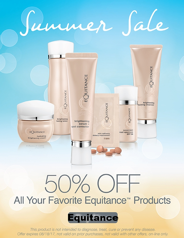 Equitance ~   Friday Flash Sale  ~ 50% Off Your Favorite Products (Ends 8/18) + Free deluxe sample with every order that includes a full-size product + Free shipping on all orders!