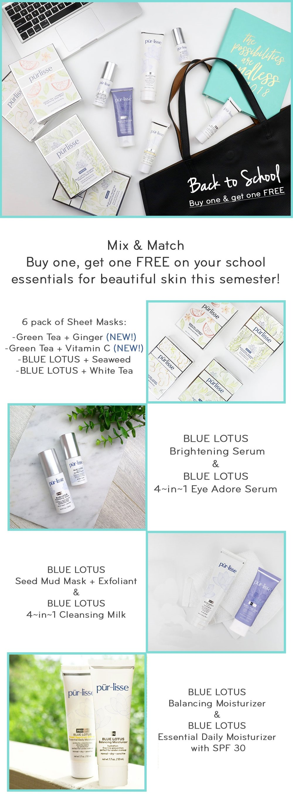 Purlisse ~  BOGO Free on Back to School  ~ Mix & Match | Get TWO for the price of ONE + Free deluxe sample with every order + Free US shipping with $50 order and free International shipping with $75 order