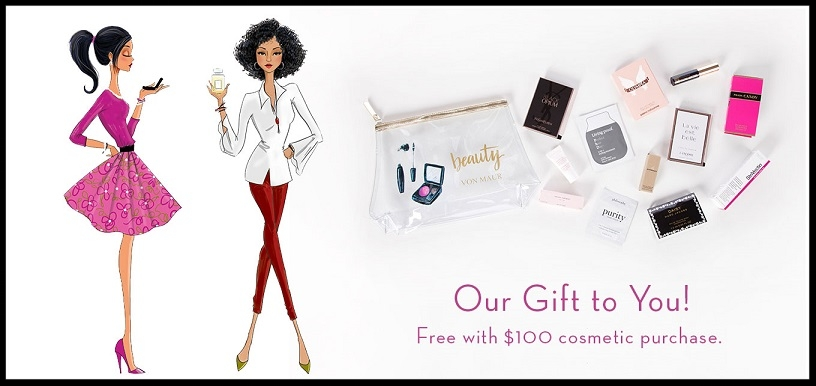 Von Maur ~ Free Gift with $100 Cosmetic Purchase (Ends 8/26) + Free shipping, free returns, and free gift wrapping