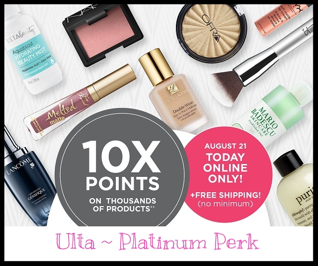 Ulta ~ (Ultamate Rewards Memmbers ~ Platinum Perk) 10X Points on 1,000 of Products + 5X on Everything Else (Check your account for this offer) + Free shipping (Ends 8/21)  + FREE Beauty Bag with any $30 purchase (It's out of stock ~ Just add to cart ~ Ends 8/22) + Free TARTE Deluxe Sex Kitten Gel Liner with any purchase (Just add to cart) + Free MATRIX Biolage R.A.W. Texture Styling Spray with any purchase (Just add to cart) + Free samples