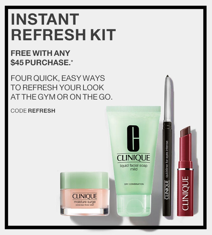 Clinique  ~ Free 4-Piece Gift with $45 purchase with promo code: REFRESH (Ends 8/23 at 11:59pm PST) + Free shipping with $50 order or join Smart Rewards Member (It's free to  join ) for free shipping on any order