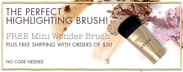 Stila  ~ Free Mini Wonder Brush™ For Face & Body with $50 purchase (No promo code needed ~ Offer ends 8/23/17 at 11:45PM PST.) + Free Stay All Day® Foundation Multi-Shade Sample with any order + Free Shipping with $50 order
