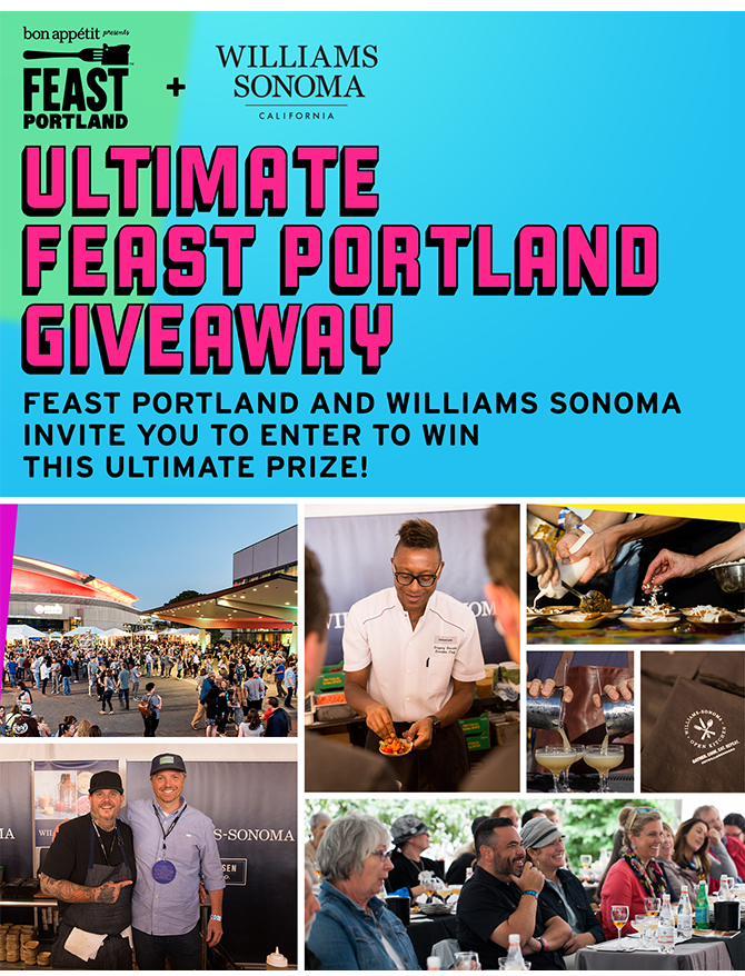 "Enter for your chance  to Win the ULTIMATE Feast Portland Giveaway!   Prize package includes:   Williams Sonoma: $500 shopping spree and two (2) tickets to Williams Sonoma's exclusive Welcome Party on Wednesday evening, Sept. 13th in Portland, OR  Alaska Airlines: Two (2) round trip air travel vouchers  The Duniway: Three (3) hotel room nights to use Thursday, Sept. 14ththrough Sunday, Sept. 17th in Portland, OR  Travel Oregon: Two (2) guided kayak tours in Portland, OR  Bob's Red Mill: A $150 gift card  Breville: One (1) Smart Oven Air  Le Creuset: One (1)round Dutch oven (9 QT capacity) in Oyster  Jacobsen Salt Co.: Two (2) exclusive tours of production at Jacobsen Salt Co. on the Oregon Coast and one (1) curated selection of products  Feast Portland: Two (2) ""The Package"" passes (providing access to five main events) in Portland, OR  (Open only to eligible legal residents of US/DC (excludes residents of RI), 21 years and older. Ends August 30, 2017 at midnight PST)"