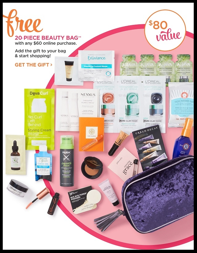 Ulta ~  FREE 20-Piece Beauty Bag with any $60 online purchase  (Just add to cart) +   Free TARTE Deluxe Sex Kitten Gel Liner with any purchas e (Just add to cart) +  Free MATRIX Deluxe Biolage R.A.W. Texture Styling Spray with any purchase  (Just add to cart) + Free samples + Free shipping with $50 order (Check your Ultamate Rewards Account for 5X Points on Select Lip Product purchases too!)