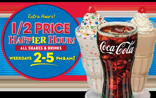 Steak 'n Shake ~1/2Priced Shakes & Drinks during Happy Hour during the Weekdays!