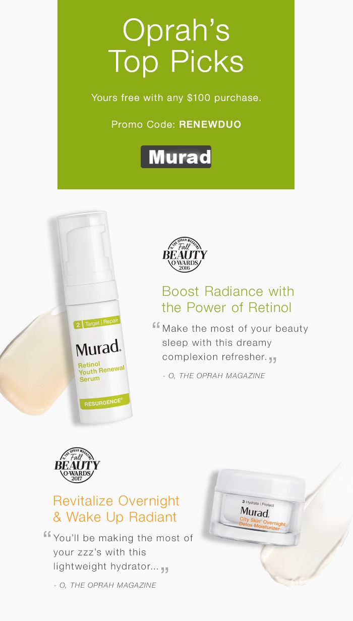 Murad  ~ Free Skincare Duo with $100 purchase with promo code: RENEWDUO (Ends 8/31 11:59 PM PT) + Free samples + Free shipping with $50 order