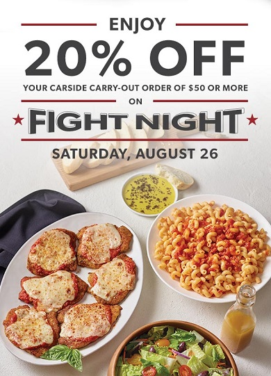 Carrabba's ~ Get 20% off a minimum $50 Carside Carry-Out Order with promo code: FAMILY (Today only) ~ Order here! They have wonderful family bundle deals!
